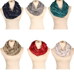 Wholesale Cotton Circle Scarf - New music note Print Scarf Circle Loop Cowl Infinity Scarves Ladies Scarves Voile Multi color printing woven scarf Christmas gift