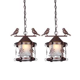 Wholesale vintage bird lamp - European Vintage Glass Metal Bird Cage Pendant Light Country Rustic Bronze Black White Balcony Hallway Restaurant Pendant Lamp