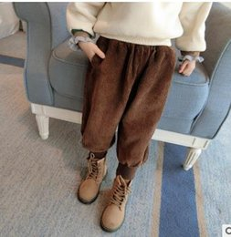 Wholesale Winter Harem - Girls pants fashion kids Corduroy bloomers Autumn Wiinter new children elastic waist leisual loose trousers kids Harem pants cashmere G1568