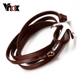 Wholesale Stainless Steel Anchor Bracelets - High Quality Genuine Leather Bracelet Stainless Steel Anchor Buckle Men's Jewelry Colourful Women's Bracelet Bangle