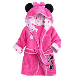 Wholesale Girls Nightgowns - Retail Children Pajamas Bathrobe baby boy   girl dressing gown flannel nightgown kids winter sleepwear hooded robe Cartoon Minnie tiger