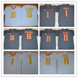 Wholesale Peyton Manning Jersey Xxl - 2018 Tennessee Volunteers 1 Jalen Hurd 11 Joshua Dobbs 16 Peyton Manning football jerseys man sports jerseys size s-3XL