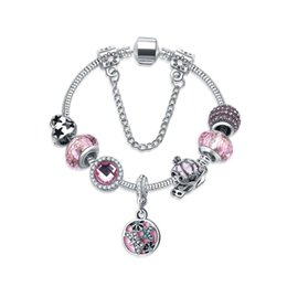 Wholesale Pandora Pumpkin - 2 Styles Pandora Pumpkin Carriage Clover European Charm Beads Pendant Bracelet Sliver Plated Snake Chain Bracelets Valentine's Gift D174S