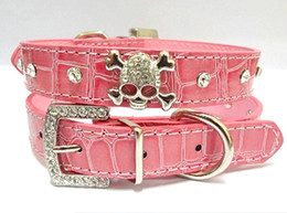 Wholesale Crystal Rhinestones Dog Collars - 1PCS Diamante Rhinestone Crystal Skulls Dog Cat Collar Black Pink Leather Pet Colla