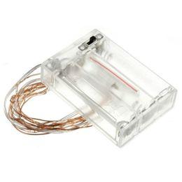 Iluminação de cobre vermelho on-line-2 m 20led Fio De Cobre Branco Brilhante / Warm White Azul Amarelo Vermelho Verde Rosa Roxo AA bateria Natal LED Cordas de Fadas Luzes Do Feriado