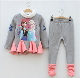 Wholesale Winter Print Fleece Leggings - Winter Thicken Fleece Velvet clothing set Girls Long sleeve warm T-shirts + Leggings Anna Elsa printing kids clothes 2 color newest!
