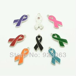 Wholesale Awareness Beads - Wholesale-Wholesale 50pcs Mix Colors Enamel Ribbon Awareness Charms Pendant Beads For Making Bracelet Necklace Jewelry Accessories 26x13mm