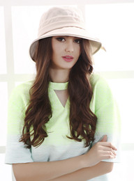 Wholesale Korean Cap For Lady - Wholesale-Sweet Fashion Sun Visor Cap Summer Korean Beret Ladies Basin Foldable Hat With Bow For Outdoor Dating 2 Color