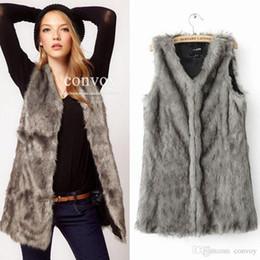 Wholesale Womens Long Length Coats - New Womens Faux Fox Fur Vest Waistcoat Ladies sleeveless Long Hair Warm Medium Length Vest Jacket Coat S-XXXL free shipping WT195