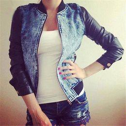 Wholesale Denim Pu Jacket - Wholesale- Fashion Womens Ladies Punk Casual Denim Pu Sleeve Jacket Outwear Coat Outwear