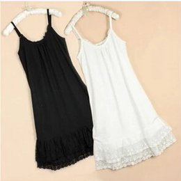 Wholesale Slimmer Spaghetti Strap Dress White - 100% cotton Slim slip dress big yards long section of lace Pure Hot Spring Summer
