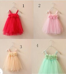 Wholesale Christmas Dresses Low Price - 18%OFF 4 colors Lowest Price Retail Petals sling veil dancing girls princess skirt dress Girls TUTU skirt the best Christmas gift1pcs DM