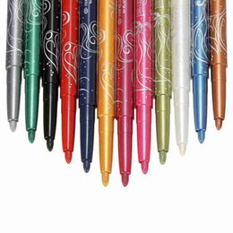 Augenbrauen make-up glitter online-Wholesale-Pro Fashion 12 Colors Eyebrow Glitter Shadow EyeLiner Pencil Pen Cosmetic Makeup Set Kit Tools