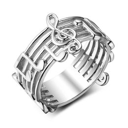 Wholesale Music Bands - Size 6 7 8 New 925 Sterling Sliver Rings for Women with Musical Note Pattern Music Lover's Band Ring Fashion Jewelry Gift JewelOra RI102767