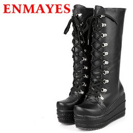 Wholesale Gothic Heels - Wholesale- ENMAYES New 2017 Gothic Punk Shoes Cosplay Boots Knee High Heel Platform Sexy Zip Winter Wedges Knee High Boots