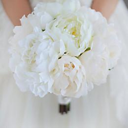 Wholesale Silk Peony Ivory - Jane Vini 2018 Elegant Ivory Peony Wedding Flowers Bridal Bouquets Bride Bouquet Holding Brooch Artificial Exquisite Wedding Decoration