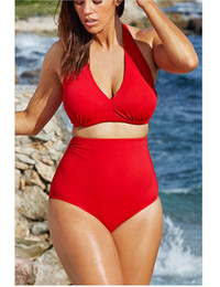 Wholesale Womens Bikini High Waist Swimsuits - Swimwear sexy womens bikinis swim bathing suit halter mini bikini swimsuits plus size women swimwear split chest pad swimsuit for women
