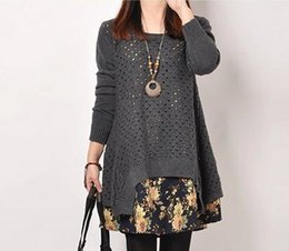 Wholesale two piece knit dresses spring - Wholesale- Sweaters M-2XL 2017 Spring Autumn new fat MM big yards sweater pullover cotton casual long-sleeved knit two-piece women's dress