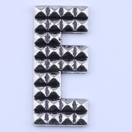 Wholesale Silver E Charms Pendant - 500pcs lot antique silver copper plated metal alloy hot selling Little E letter Pendant charms floating 2125y