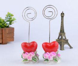 Wholesale Wholesale Flower Clip Cards - 20pcs Red Heart Rose Flower Number Menu Table Place Card Holder Clip Wedding Party Reception Favor