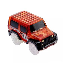Wholesale red toy jeep - Glow in the Dark Magic Car LED Light Up Electronics Car Toys Jeep Model Electric Race Cars DIY Toy Car For Kid LA556-2