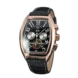 Wholesale Fake Tags - New men's top luxury brand FORSINING belt automatic mechanical watch fake two-eyes barrel type dial calendar watch fashion casual watch