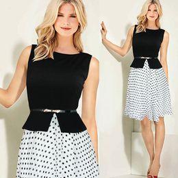 Wholesale Dipped Hem Dresses - sleeveless women party office wear vintage celeb belted polka dot tunic dress new 2015 summer dip hem dress ball gown dk4433xl