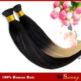 "Wholesale Hair Extension S - XCSUNNY Fusion Hair Extensions Ombre Keratin Extensions I Tip 18""20"" T Tip Ombre Hair Extensions1g s 100g Indian Remy Human"