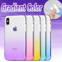Wholesale Silicone Case Iphone Dust Plug - Gradient Color Case Ultra Thin Slim Transparent Clear Soft TPU Silicone Shockproof With Dust Plug Cover For iPhone X 8 7 Plus 6 6S