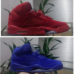 Wholesale Mens Leather Suits - Air Retro V 5 Flight Suit toro Mens basketball shoes Red & Blue Suede 5s Athletic sneaker High Top Trainer size 41-47