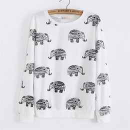 Wholesale Dog Sweat Shirts - w1208 Alisister casual cute cartoon sweatshirt cotton women long shirts print dog cat elephant hoodies thin 3d animal sweat shirt top