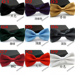 Wholesale Wholesale Grooms Wear - New Style Cheap Noble Men's Party Business Formal Wear Tie Fashion Groom Bridegroom Bow Tie Wedding Accessories Solid Many Colors Can Choose