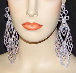 """Wholesale Dangling Clear Rhinestone Earrings - Luxury Bridal Silver With Clear Rhinestone Crystal Earings Wedding Party Dangle 6"""" Chandelier Drop Earrings Jewelry LE221"""