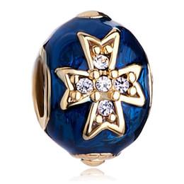 Faberge perlen online-Groß- und Kleinhandel Sapphire Blue Drip Gum keltisches Kreuz Faberge Ei Charme Russion Ei Perlen passt für Armbänder