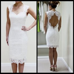 Wholesale Sweetheart Neckline Lace Dress - Lace Wedding Dress with Scalloped Keyhole and Sweetheart Neckline Custom Made Short Wedding Dress Reception Dress