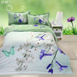 Wholesale Green White Flowered Quilt - White blue flower butterfly green 3d bedding sets bed linen queen comforter cover set bed 3d bedding patchwork quilt cover 2738