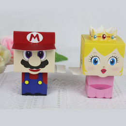 Wholesale Princess Gift Boxes - Free shipping! 80pcs lot cartoon Super Marie Bros princess Bride and Groom wedding favors Mario candy box for wedding gifts