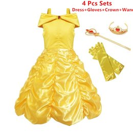 Wholesale Carnival Costumes Retail - Retail Baby Girls Princess Belle Dress Sets up Costume Kids Sleeveless Yellow Party Dress Children Girl Carnival Xmas Birthday Ball Gown