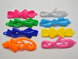 Wholesale Assorted Hair - 24 Mixed Color Assorted Plastic Hair Barrette Bow Shape Hair Clips DIY Craft