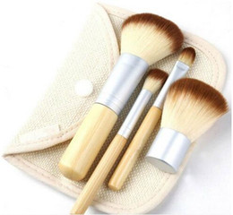 Wholesale Goat Hair Dhl - 4Pcs Set Kit wooden Makeup Brushes Beautiful Professional Bamboo Elaborate make Up brush Tools With Case zipper bag button bag Free DHL