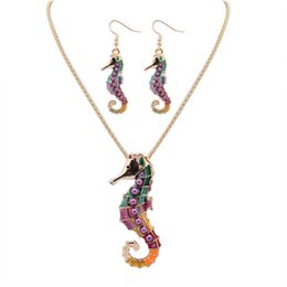 Wholesale Sea Pearl Jewelry Set - NEW free style 18KGP 925 silver Drip Rainbowful Sea horse with purple pearls hape jewelry set alloy necklace earrings accessories for women