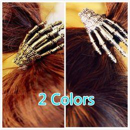 Wholesale Bones Clip - Wholesale-Skeleton gripper ghost claws hair bands terror hand bone hair wire rope clip