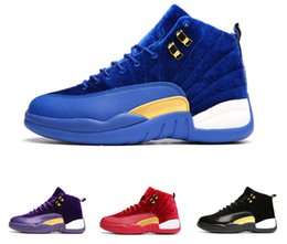 Wholesale Velvet Sneakers - 2017 New Air Retro 12 shoe man Basketball Shoes black suede Royal Blue Velvet Heiress red mens womens sports trainer sneakers US 5-13
