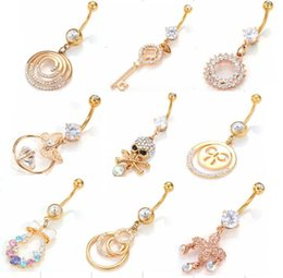 Wholesale snail pendant - Stainless Gold Color Rhinstones Snail Circles Key Butterfly Skull Cross Pendants Belly Button Rings Navel Ring Body Piercing Jewelry 9 style