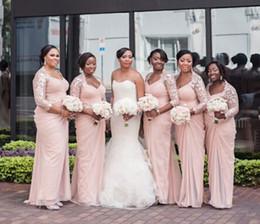 Wholesale Lace See Through Bridesmaid Dresses - Long Sleeves Aso Ebi Style Bridesmaid Dresses V Neck Mermaid Bridesmaid Gown Chiffon Cheap Dress Formal Dress 2015 Winter Lace See Through