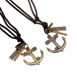 Wholesale Brass Anchor Vintage - Punk Boat Anchor Pendant Necklaces Vintage Men Women Couples Long Leather Lovers Fashion Jewelery Necklace Europe Style Christmas Gifts Y040