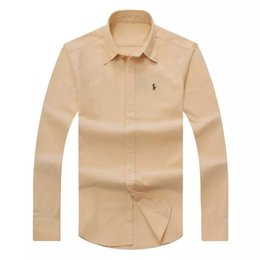 Wholesale Euro Dress - 2018 autumn winter men's long-sleeved Dress shirt men's casual POLO small horse shirts fashion USA Brand Oxford social shirt Euro Size M-2XL