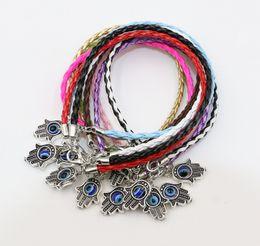 Wholesale Bright Charms - 40pcs Bright Mix Color Hamsa Hand of God Fatima Jewish Judaica Kabbalah Evil Eye Charm Leather Bracelet
