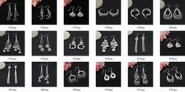 Wholesale Price Cubic Zirconia - 50Pairs 100pieces Mix Style Sterling Silver Plated Fashion Earrings Dangles with OPP Bags Factory Price Send type Randomly
