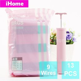 Wholesale Vacuum Pumps Bags - Wholesale- 13PCS Vacuum storage Bag Pump Wardrobe Space Saving Waterproof Vacuum Compressed Storage Clothes Quilt Space Saving Seal Bags